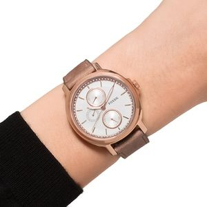 FOSSIL~chelsey~3358~SAND LEATHER GLITZ WATCH
